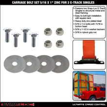 "Load image into Gallery viewer, CARRIAGE BOLT DOUBLE SET (5/16""x1"") fastens 2 SNAPLOCS E-Track Singles"