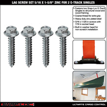 "Load image into Gallery viewer, LAG SCREW DOUBLE SET (5/16""x1-5/8"") fastens 2 SNAPLOCS E-Track Singles"
