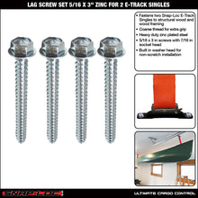 Load image into Gallery viewer, Lag Screw Set 5/16 x 3 Inch Zinc, Fastens 2 Snap-Loc E-Track Singles