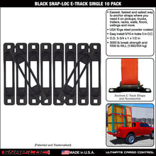 Load image into Gallery viewer, Black Snap-Loc E-Track Single Strap Anchor 10-Pack