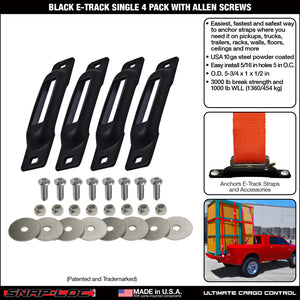 BLACK E-TRACK SINGLE STRAP ANCHOR 4 PACK with ALLEN SCREWS