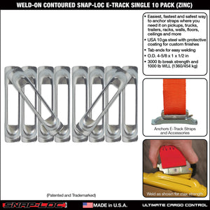 Weld-On Contoured Unfinished E-Track Single Strap Anchor 10-Pack (zinc)