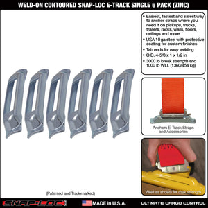 Weld-On Contoured Unfinished E-Track Single Strap Anchor 6-Pack (zinc)