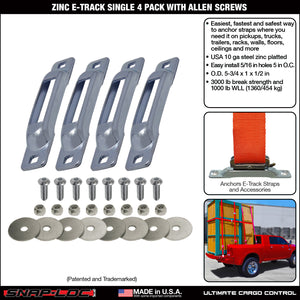 Zinc E-Track Single Strap Anchor 4-Pack with Allen Screws