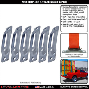 ZINC SNAP-LOC E-TRACK SINGLE STRAP ANCHOR 6 PACK