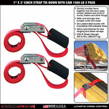 "Load image into Gallery viewer, 1"" x 3' CINCH STRAP TIE-DOWN with CAM 1500 lb 2 PACK"
