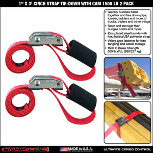 "1"" x 3' CINCH STRAP TIE-DOWN with CAM 1500 lb 2 PACK"