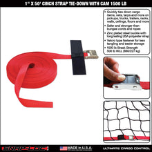 "Load image into Gallery viewer, 1"" x 50' CINCH STRAP TIE-DOWN with CAM 1500 lb"