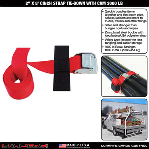 "2"" x 8' CINCH STRAP TIE-DOWN with CAM 3000 lb"