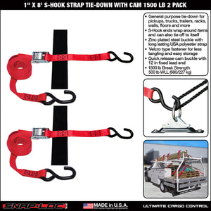 "1"" x 8' S-HOOK STRAP TIE-DOWN with CAM 1500 lb 2 PACK"