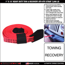 1 in x 15 ft Heavy Duty Tow Recovery Strap 7,000 lb