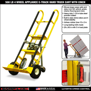 500 lb 4 WHEEL APPLIANCE E-TRACK HAND TRUCK CART with CINCH