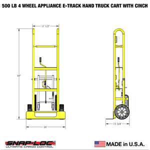 500 lb Capacity 4 Wheel Appliance E-Track Hand Truck Cart with Cinch