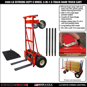 2000 lb EXTREME-DUTY 6 WHEEL 3-IN-1 E-TRACK HAND TRUCK CART