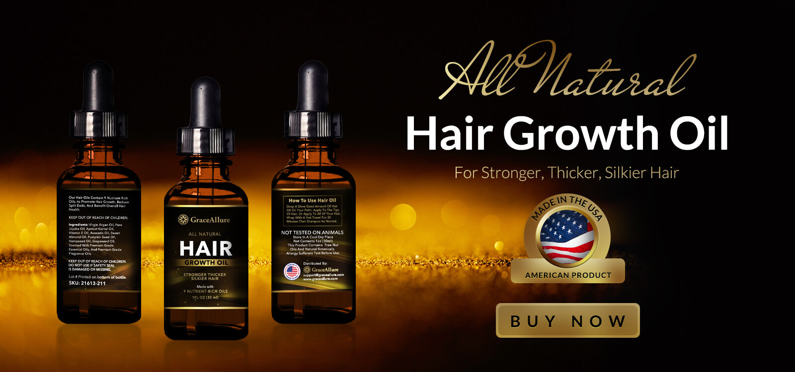 All Natural Hair Growth Oil for Stronger, Thicker and Silkier Hair