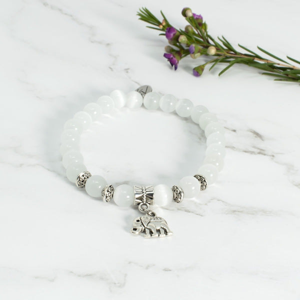Cat's Eye Quartz Bracelet Elephant Charm