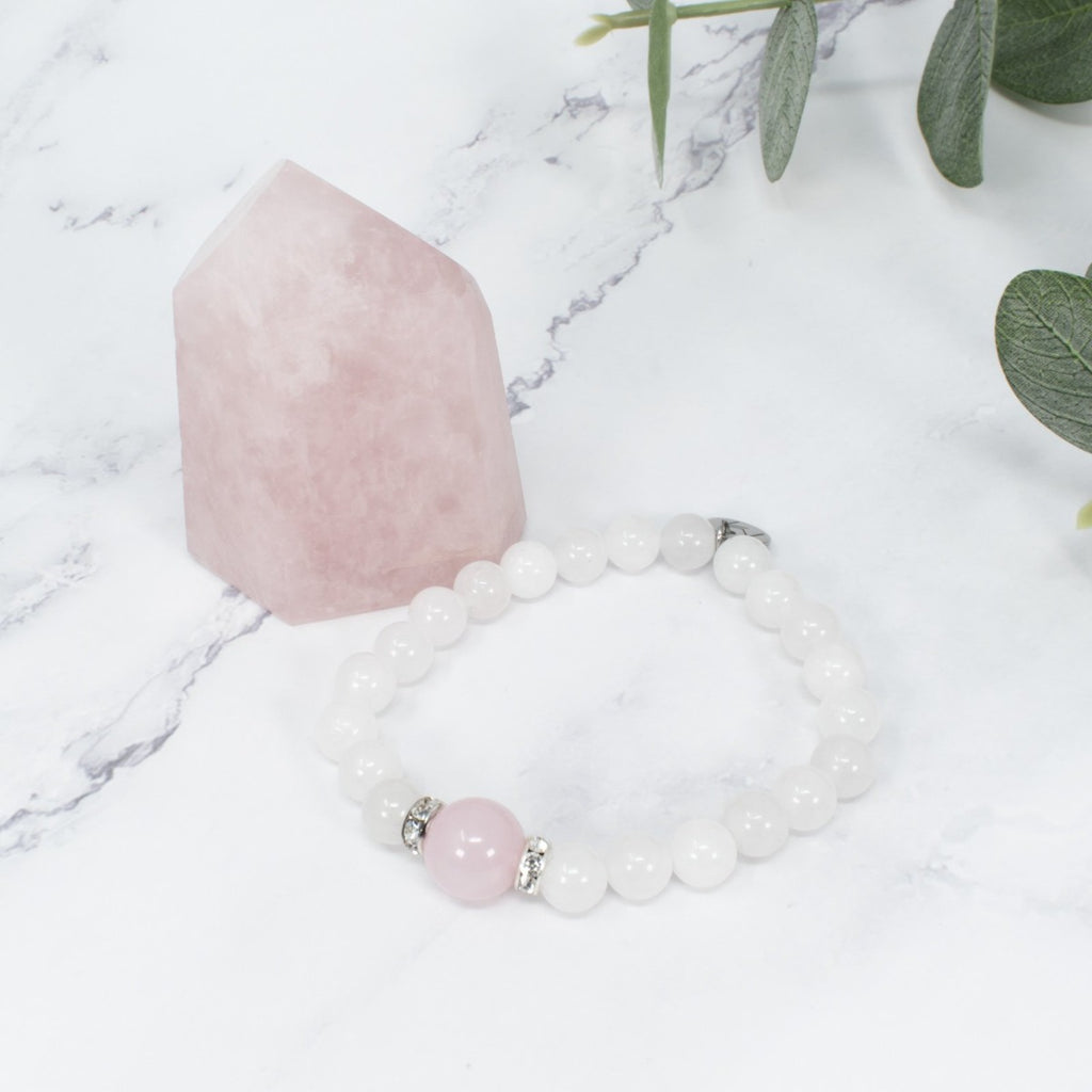 rose quartz and white jade bracelet