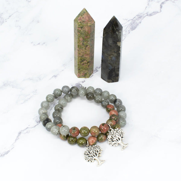 Unakite and Labradorite Bracelet with a Tree of Life Charm