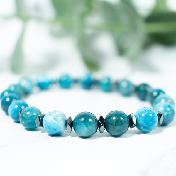 Blue Apatite and Hematite Crystal Bracelet