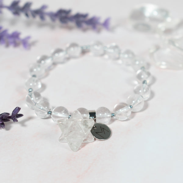 Clear Quartz bracelet with Merkaba charm