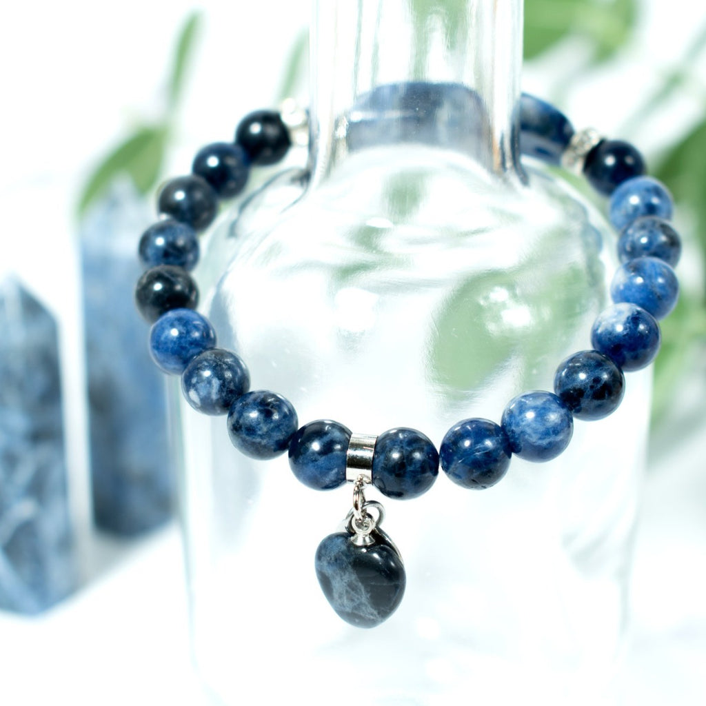 Sodalite Beaded Bracelet with a heart charm