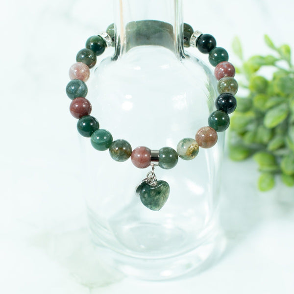 Indian Agate Beaded Bracelet Heart Charm