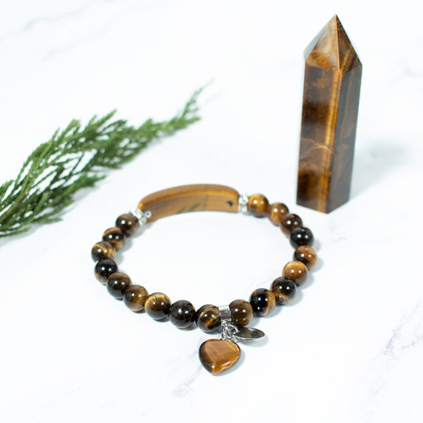 Tiger's Eye beaded charm bracelet