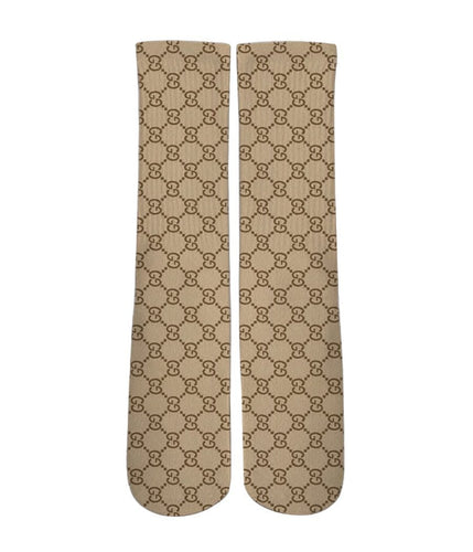 Brown gucci patter printed crew socks - DopeSoxOfficial