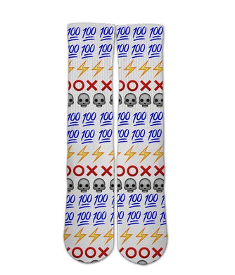 Emoji Printed Socks-Emoji sock design-Custom Elite Crew socks - DopeSoxOfficial