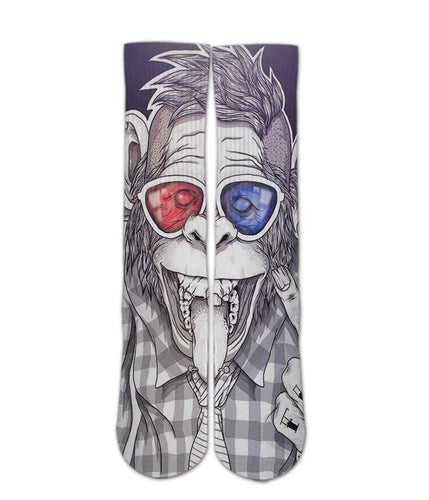 Crazy Monkey sock design Elite Crew socks - DopeSoxOfficial