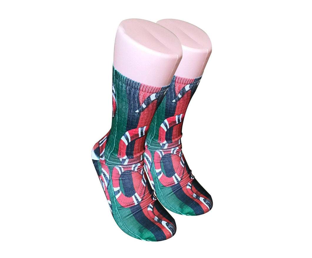 Gucci Double Snake design all over printed crew socks - DopeSoxOfficial