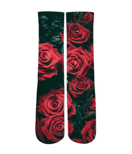 Graphic Socks - Red rose pattern design printed crew socks