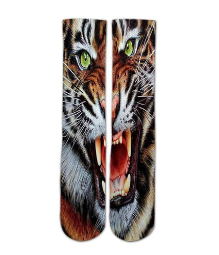 Crazy Tiger sock design-Custom Elite Crew socks - DopeSoxOfficial