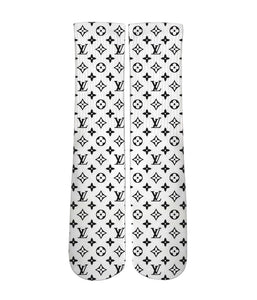 Graphic Socks - White LV pattern printed crew socks