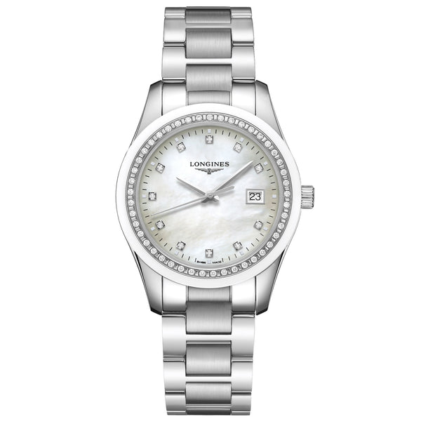 Longines orologio Conquest Classic 36mm madreperla diamanti quarzo acciaio L2.387.0.87.6