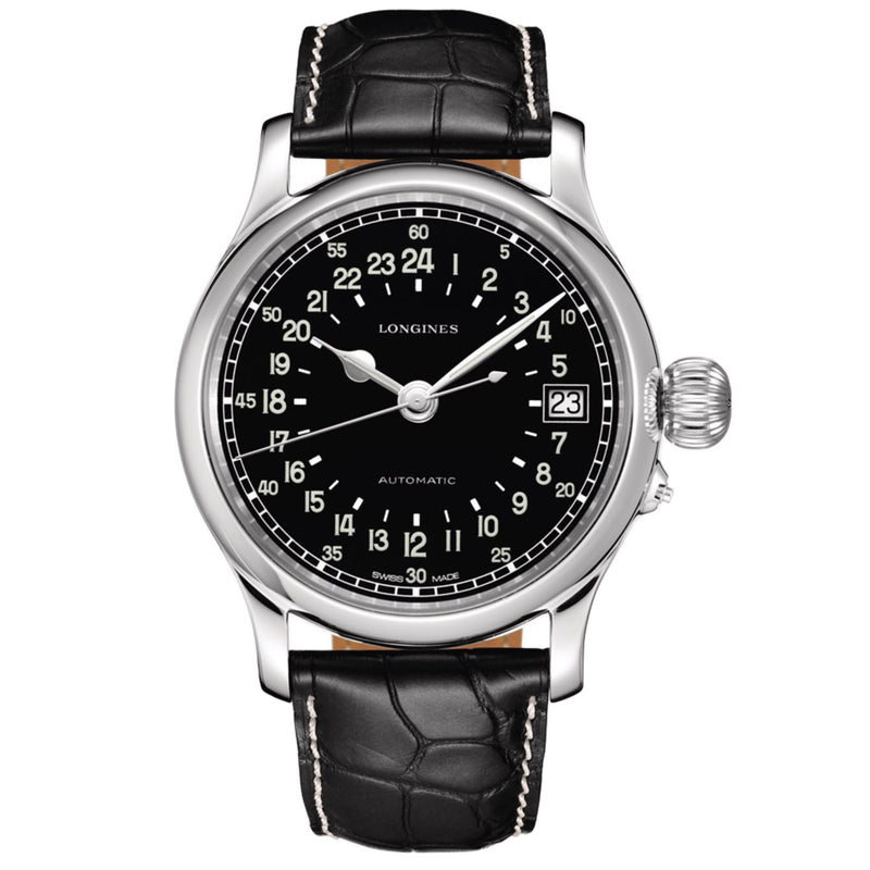 Longines Watch Twenty-Four Hours 47.50mm Black Automatic Steel L2.751.4.53.4