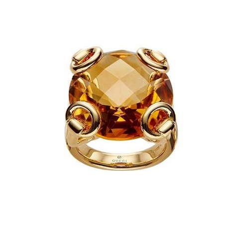 Gucci anello Horsebit Cocktail oro giallo 18kt quarzo orange misura 16 160447 IOHJ08064