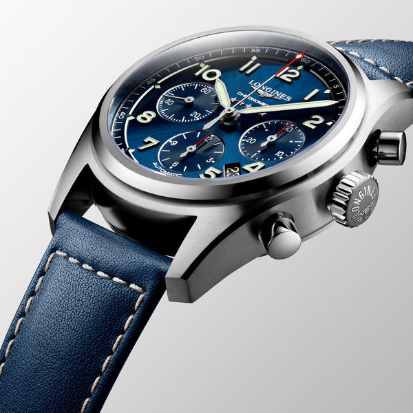 Longines watch Spirit chronograph 42mm blue automatic steel L3.820.4.93.0