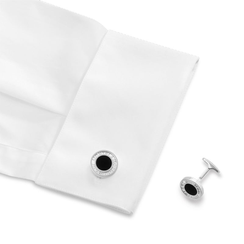 Montblanc gemelli in argento con inserto in onice Essential Sartorial 116644