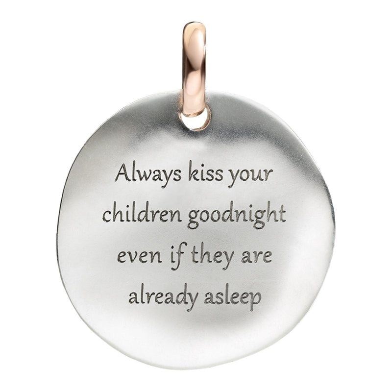 Queriot ciondolo moneta grande Always Kiss Your Children argento 925 oro 9ktF12A03M0013 - Gioielleria Capodagli
