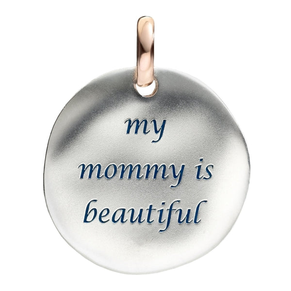 Queriot ciondolo moneta grande My Mommy Is Beautiful argento 925 oro 9kt F12A03M0620 - Gioielleria Capodagli