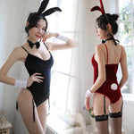 Bunny girl sexy gold silk one-piece open sexy lingerie