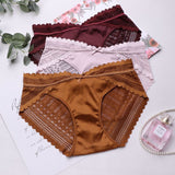 satin high - end lace underwear women French romantic waist sexy hot buttocks briefs
