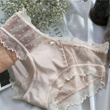 Milk silk sex appeal transparent gauze connects pair of bottom pants  lace edge briefs