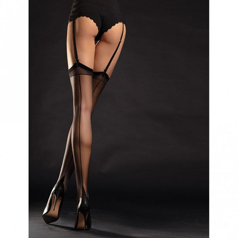 Point heel seamed stockings