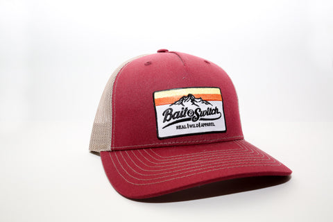 Mountain Sunset Snapback - Cardinal / Tan