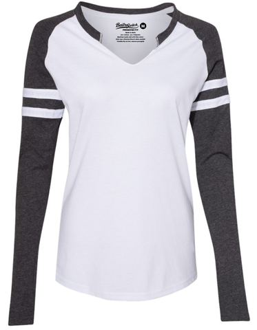 Long-Sleeve V-Notch Shirt: Black & White