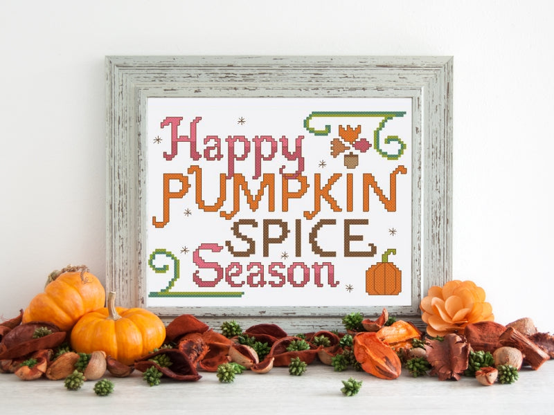Pumpkin Spice Season Free Cross Stitch Pattern