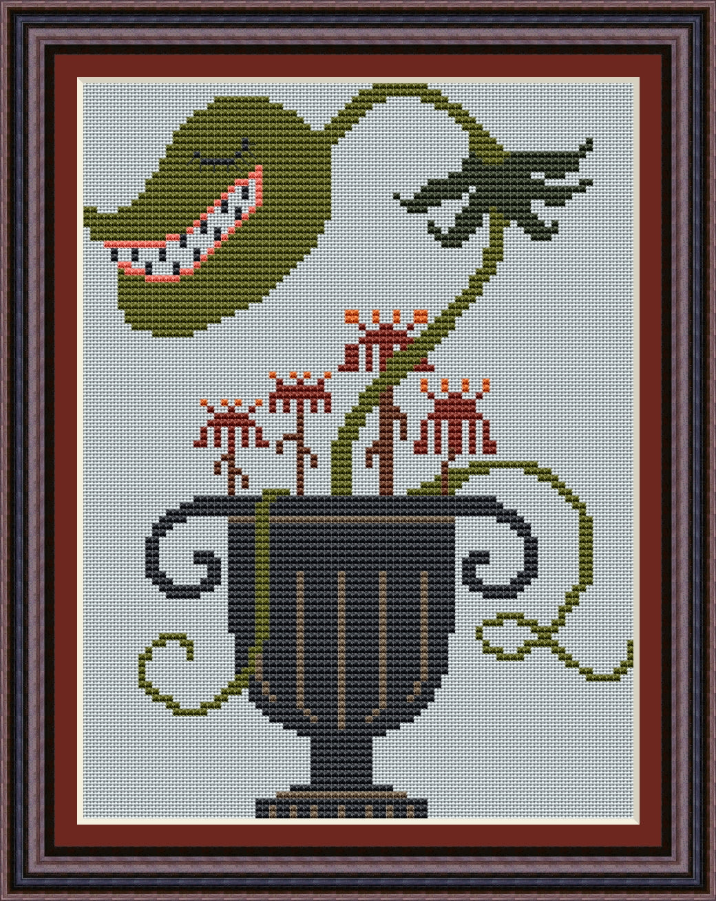 Little Urn of Horrors Free Cross Stitch Pattern