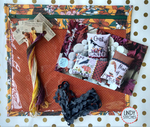Autumn Royalty Deluxe Bag Set including Pattern, Floss, Project Bag, Rick Rack